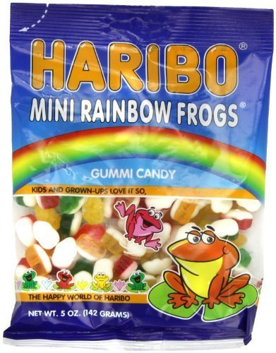 Haribo Gummi Candy, Mini Rainbow Frogs, 5 -Ounce Bags (Pack of 12) by Haribo [Foods] ()