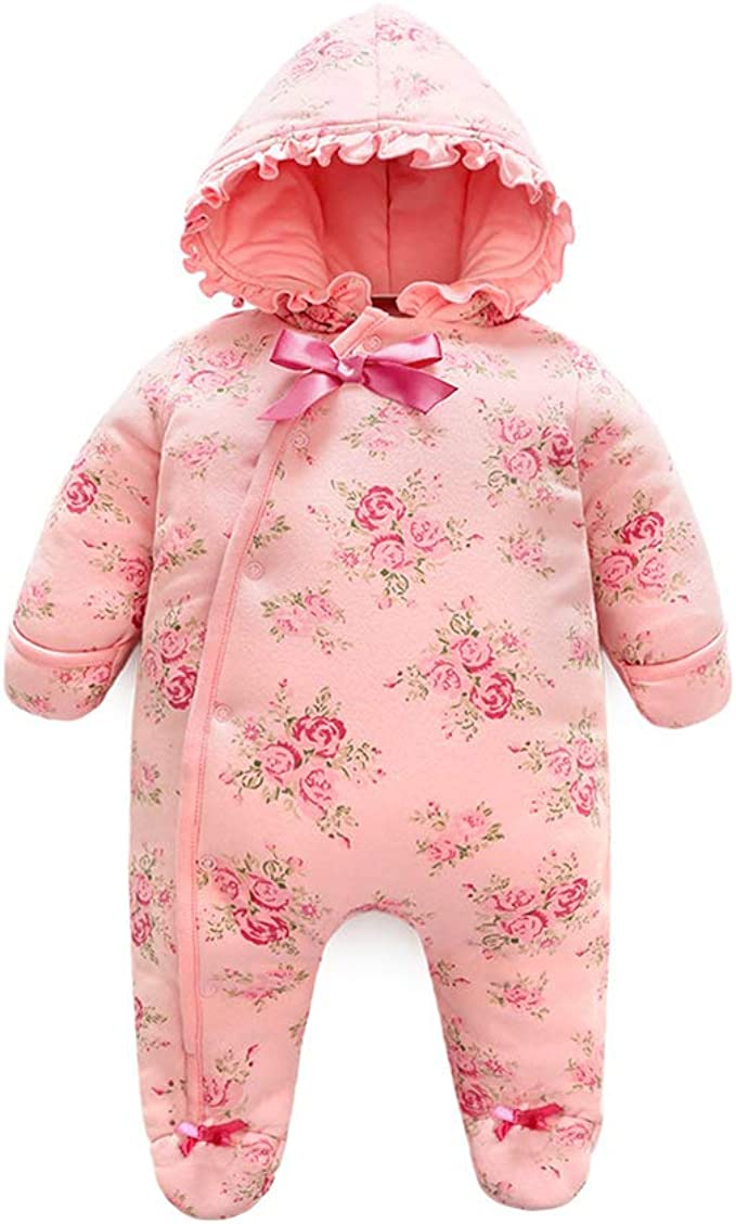 AIKSSOO Infant Toddler Baby Girl Outfit Flower Printed Thick Warm Romper Footies