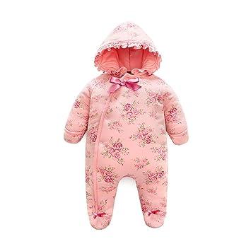 c5dbce0e0d0c2 AIKSSOO ベビー服 ロンパース カバーオール 前開き 足つき 厚手 幼児 女の子 新生児 寝袋 フード付き 防寒 花