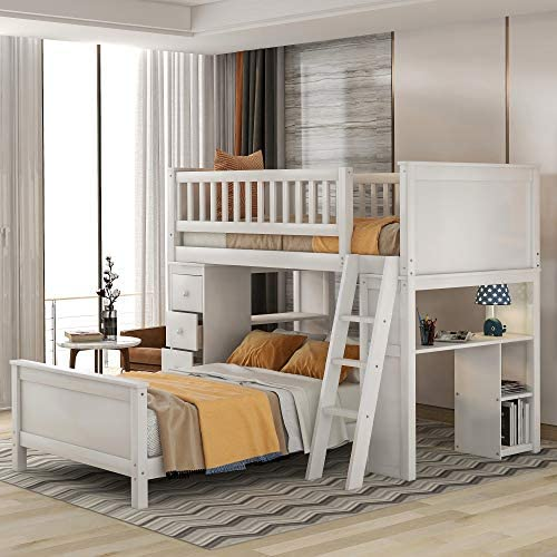 P PURLOVE Twin Over Twin Bunk Bed Twin Loft Bed Wood Bunk Bed