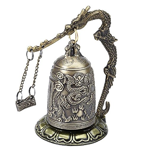 Antique Home Decoration Zinc Alloy Vintage Style Bronze Lock Dragon Carved Buddhist Bell Chinese Geomantic Artware Exquisite