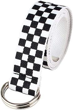 INTVN Cintura a Quadri in Tela 128cm Cintura da Donna Cintura in Tela Cintura a Scacchi Cintura a Quadri Bianca Nera Cintura a Scacchi Cintura per Ragazze