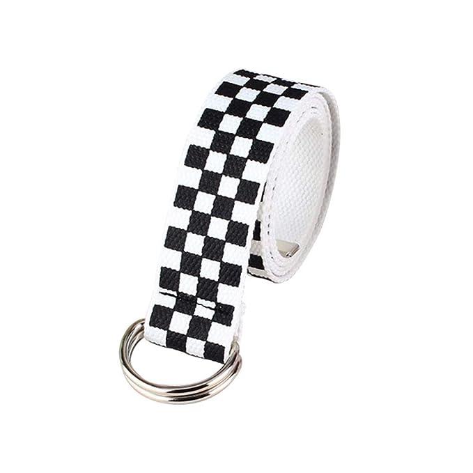 Amazon.com: Cinturón de lona con doble anilla y hebilla ...