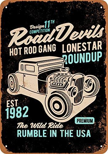Wall-Color 10 x 14 Metal Sign - Road Devils Hot Rod Gang - Vintage Look