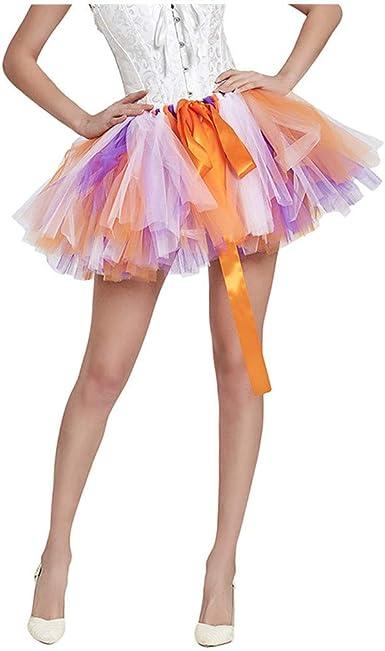 Falda Arcoiris para Mujer Falda Baile Latino Falda de Ballet de Tul ...