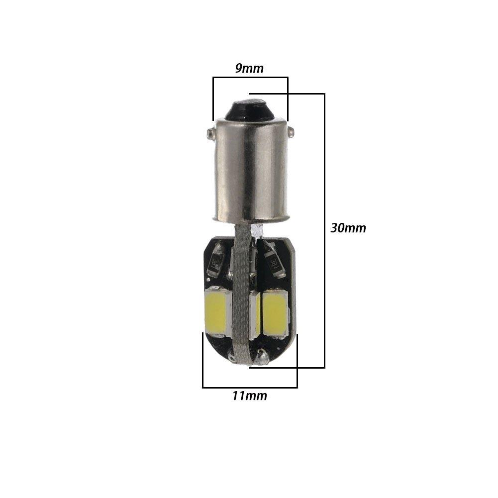 confezione da 2 Taben bianco 8SMD 5630/BA9S 6253/64111/T11/T4/W LED lampadine mappa porta cupola lampadina luce targa Canbus senza errori