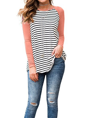 - Adreamly Women's White and Black Striped Long Sleeve Baseball T Shirt Sport Tunic Tops Coral Pink X-Large
