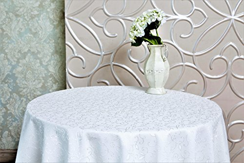 """AHOLTA DESIGN Stain Resistant Turkish White Tablecloth Polyester Table Linen, Rectangle, Square, Round, Washes Easily, Non Iron - Thanksgiving, Christmas, Dinner, Wedding, Easter (WHITE, Round 50"""")"""