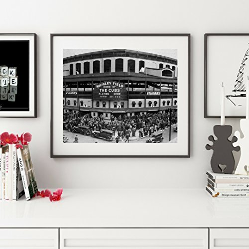 (Framed Wall Art, Chicago Cubs World Series Wrigley Field 1935 Framed art print, Framed art, Chicago Photography Black and white print 14x18 inch, Wall Art Print, CUBS)