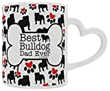 Bulldog Gifts Best Bulldog Dad Ever Dog Owner Gifts English Bulldog Heart Handle Gift Coffee Mug Tea Cup Heart Handle
