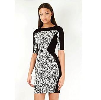 Monochrome Paisley Contrast Bodycon Mini Dress UK Size 8