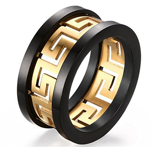 PSRINGS Hollow Ring Gold Plated Greek Key Design Titanium Steel Gold Plated Hollow Out ring 10.0
