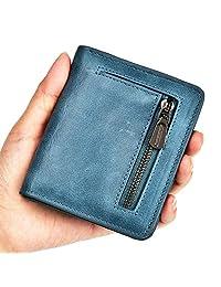 Kinzd Bifold Wallet RFID Leather Card Wallet for Women Credit Card Holder (Bifold Blue)