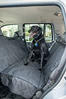 2PET Backseat Cover Quilted Deluxe by Dog Seat Cover for Cars, Trucks and SUV - Secure Fit- Waterproof, Protects from Dust, Hair, Dirt and Water - Black