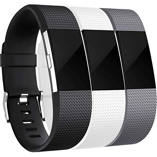 Wepro Bands Compatible with Fitbit Charge 2, 3-Pack, Large, Black, Gray, White