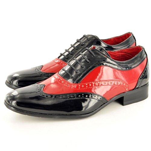 Herren-Schnürschuhe/Brogues, zweifarbig, italienischer Stil Black/ Red (Shiny)