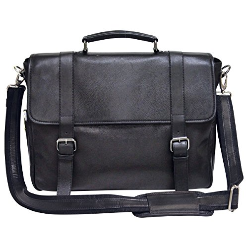- Bellino Marshall Leather Briefcase, Black, One Size