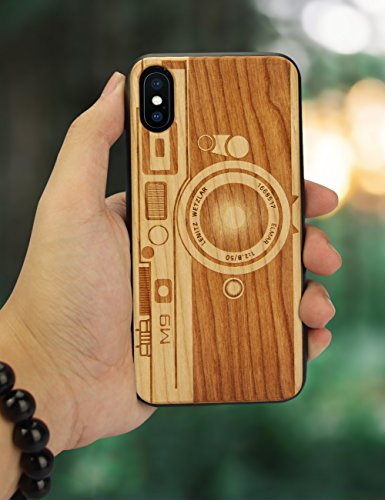 newest c3416 b9648 YFWOOD for iPhone XS Case Wood, Wood Engraving Camera Slim Fit Shell Full  Protective Flexible Anti-Scratch Bumper Protection Case Compatible with ...