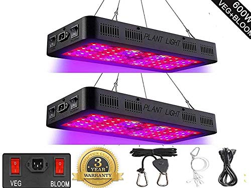 600W LED Grow Light, Proisland Full Spectrum Plant Light with Veg and Bloom Double Switch, Daisy Chain Lens Tech, Adjustable Rope, Grow Lamp for Indoor Plants Veg and Flower 60pcs 10W LED 2