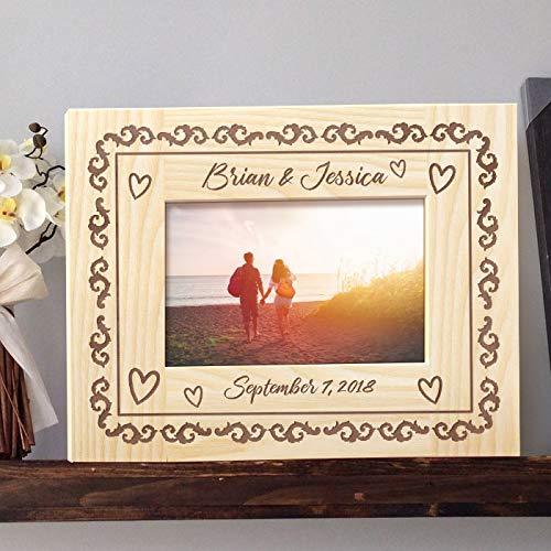 [해외]그와 그녀의 개인 목조 액자 5 인치 × 7 인치 라이트 브라운 (가로) / Him and Her Personalized Wooden Picture Frame 5 x 7 Light Brown (Horizontal)