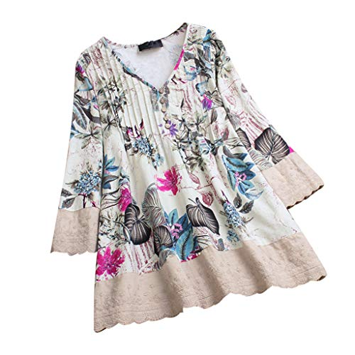 c64fbc3590f5b Lazzboy Womens Tops Blouse 3 4 Long Sleeve Linen Ladies Floral Print Loose  Casual Pullover Shirt