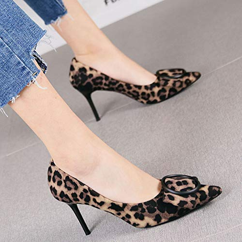 HRCxue Pumps Fashion Plaid Stiletto Single Schuhe weibliche Spitze High Heels, 39, graue Plaid