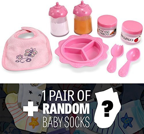 Time to Eat 8-Piece Feeding Set: Mine to Love Doll Accessory Series + 1 FREE Pair of Baby Socks Bundle (48880)