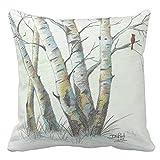Zazzle Winter Birches Colored Pencil Art Throw Pillow 20' x 20'