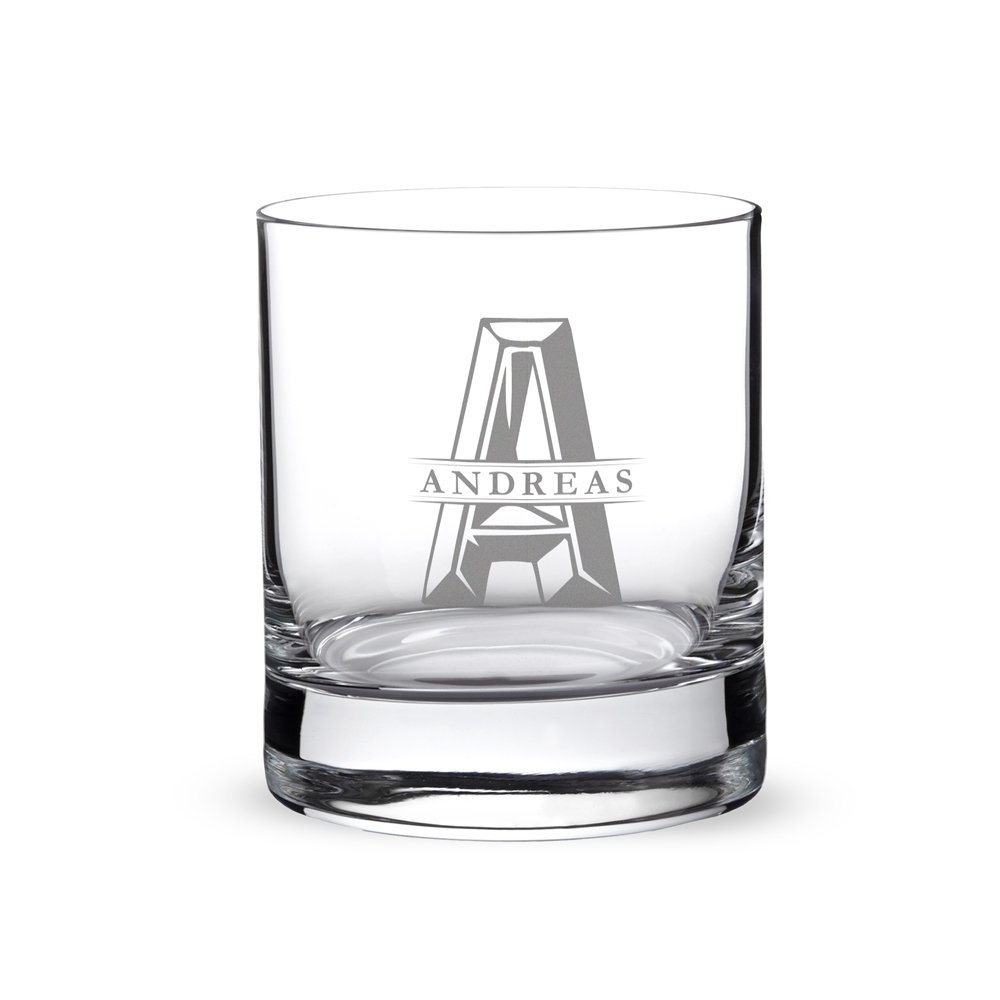 AMAVEL - Whisky Glass with Engraving - Personalised with Name and Initials - Whisky Tumbler for Gentlemen - Presents for Father's Day - Original Birthday Gifts for Men