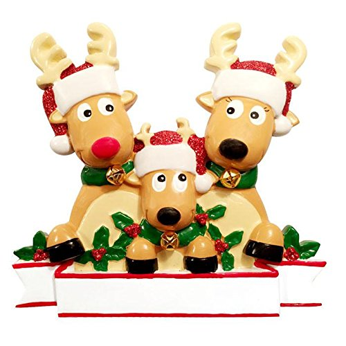 - 2018 Reindeer Family Hand Personalized Christmas Ornament - Family of 3 (with 1 Child)
