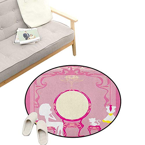Girls Modern Flannel Microfiber ,Lady Sitting in Front of French Cosmetic Make Up Mirror Furniture Dressy Design, Round Rug Living Room Bedroom Decor 47