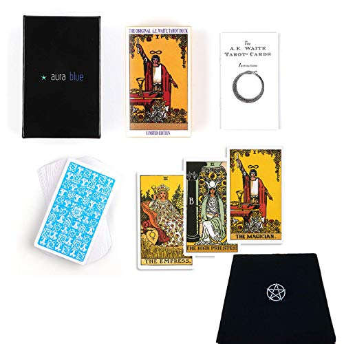 Tarot Cards and Altar Cloth Gift Set - Rider Waite Tarot Deck and Booklet - Tarot Cards for Beginners with Tarot Table Cloth - Bundle - Divination Gift for The Modern Witch - Astrology