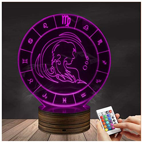 3D Led Lamp Optical Illusion Virgo Night Light 16 Colors with Remote Control Lighting Table Desk Bedroom Decoration Toy Gift Idea