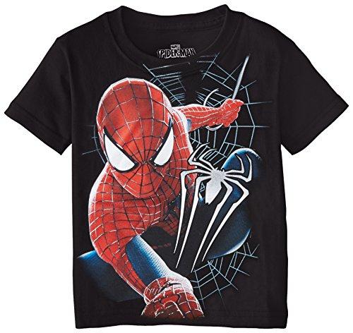 Marvel Little Boys' Spiderman Short Sleeve T-Shirt, Black, 4