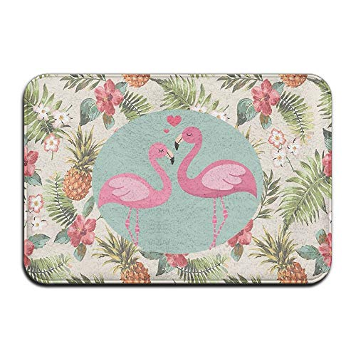 Flamingos Tropical Flowers and Pineapples Non Slip Machine Washable Door Mat Home Decor Rug Front Door Mats 30(L) X 18(W) Inch (Best Dog Roll Nz)