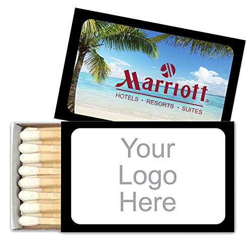 Promotional Match Box Matches - 50 Quantity - $0.72 Each - Promotional Product/Bulk with Your Logo/Customized (Black Box)
