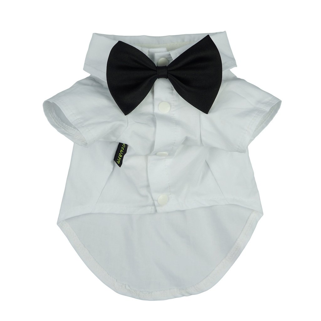 Fitwarm Pet Wedding Clothes Formal Tuxedo White Shirts for Dog with Bow tie White XL by Fitwarm (Image #2)