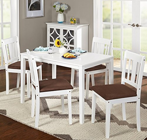 Brodrick White 5 Piece Dining Set, Rubber Wood Construction with Microsuede Upholstered Seats (Nook Sale Table For Breakfast)