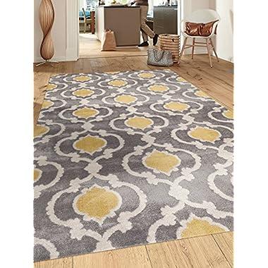 Moroccan Trellis Contemporary Gray/Yellow 5'3  x 7'3  Indoor Area Rug
