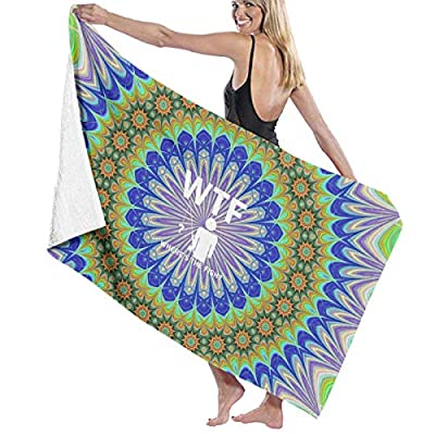 BAGT Luxury Oversized Beach Towels, WTF Where's The Fish Flower Prints Bath Towel Wrap Womens Spa Shower and Wrap Towels Swimming Bathrobe Cover Up for Ladies Girls - White