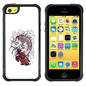 Suave TPU GEL Carcasa Funda Silicona Blando Estuche Caso de protección (para) Apple Iphone 5C / CECELL Phone case / / Kraken White Fish Monster /