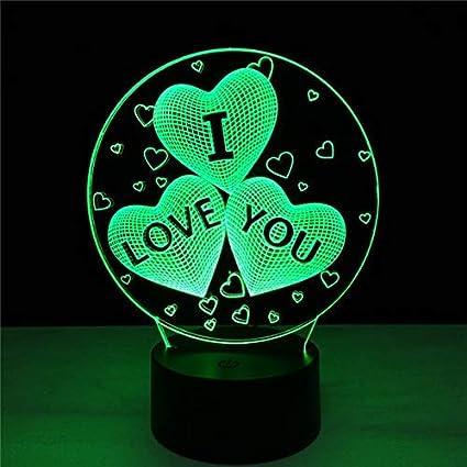 Creativo ¡El mejor regalo de bodas!Toque Cambiar color 3D Amor Corazón Luz nocturna Dormitorio romántico Aniversario Novia Pareja Amantes