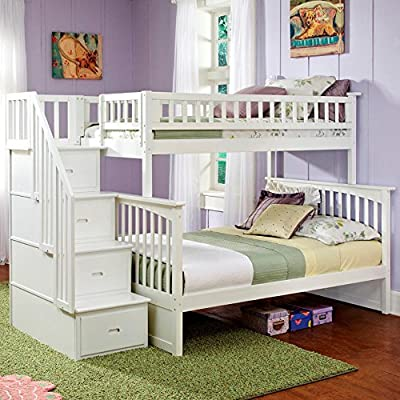 Atlantic Furniture Columbia Staircase Bunk Bed with Raised Panel Bed Drawers