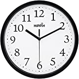 Hippih Black Wall Clock Silent Non Ticking Quality Quartz, 10 Inch Round Easy to Read For Home Office School Clock