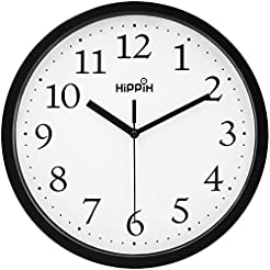 HIPPIH Black Wall Clock Silent Non Ticki...