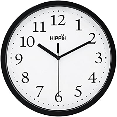 Hippih Black Wall Clock Silent Non Ticking Quality Quartz, 10 Inch Round Easy to Read For Home Office School Clock - Concise style - Clear to read,Special and elegant design meet all your decoration need Non ticking - Quiet sweep second hand, no ticking to ensure a good sleeping or working environment REPLACEMENT GUARANTEE - We protect HIPPIH Clock, If anything at all goes wrong with your clock, we will send you a replacement, no return required - wall-clocks, living-room-decor, living-room - 51MCNZTr9xL. SS400  -