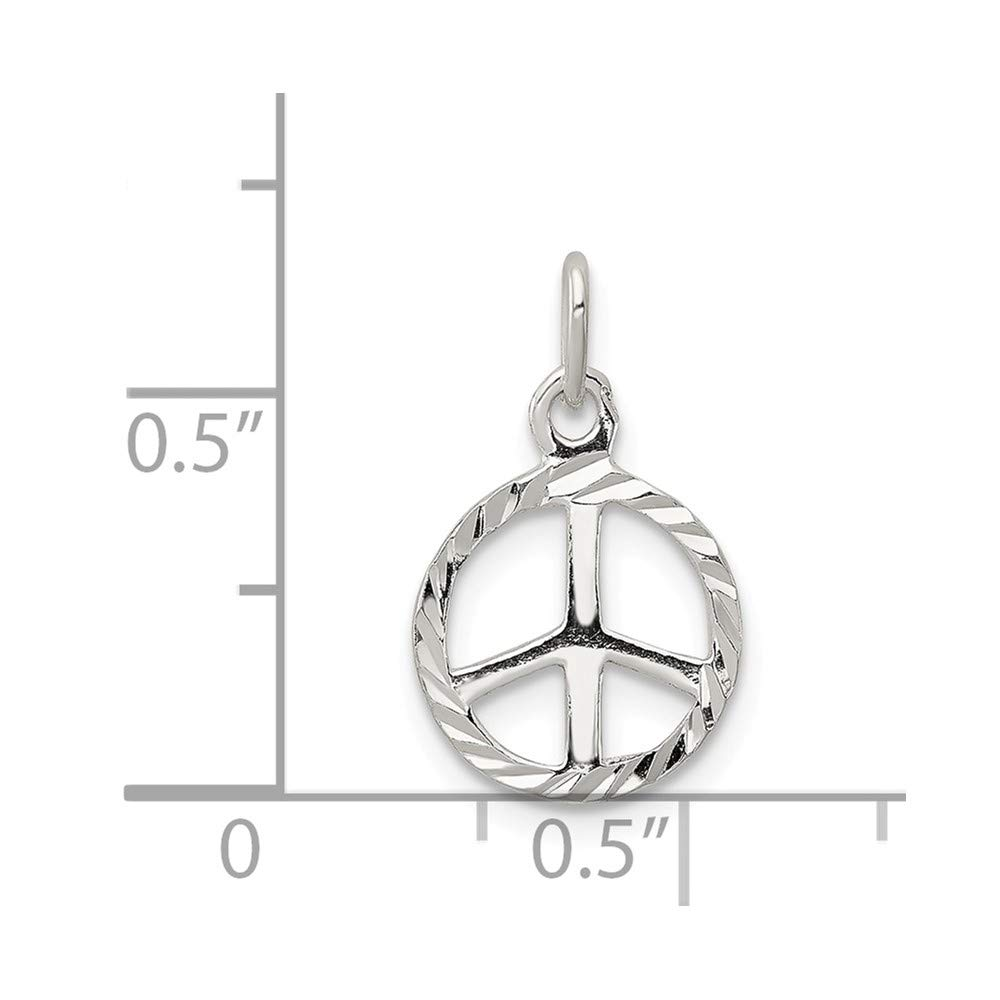 925 Sterling Silver Diamond-Cut Peace Symbol Solid Charm Pendant
