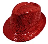 Nice Shades Fedora Sequins Flashy Hat. Red