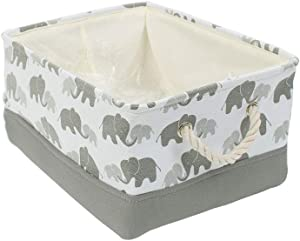 """uxcell Small Storage Basket Bins for Toy Organizer,Collapsible Laundry Basket with Drawstring Closure for Clothes Closet Shelves, (Small - 12.2"""" x 8.3"""" x 5.1""""), Grey Elephant"""