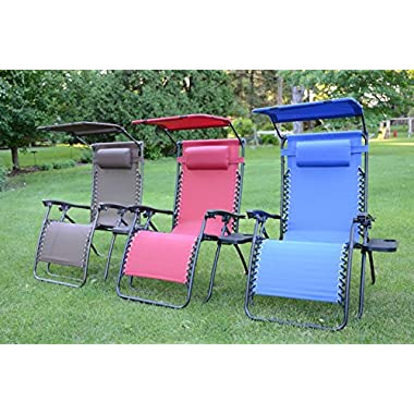 Deluxe Oversized Extra Large Zero Gravity Chair with Canopy + Tray - Blue